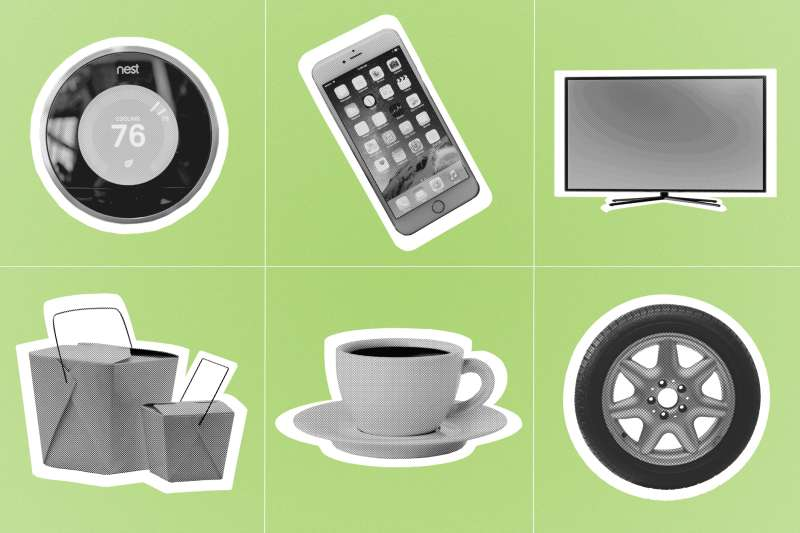 illustration with thermostat, iPhone, flatscreen television, takeout container, coffee mug, and car tire