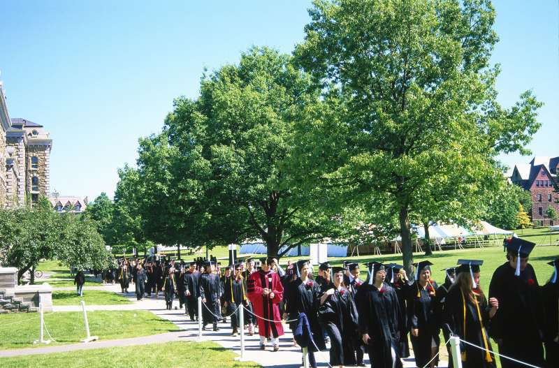 Graduates marching on Ithaca campus, New York