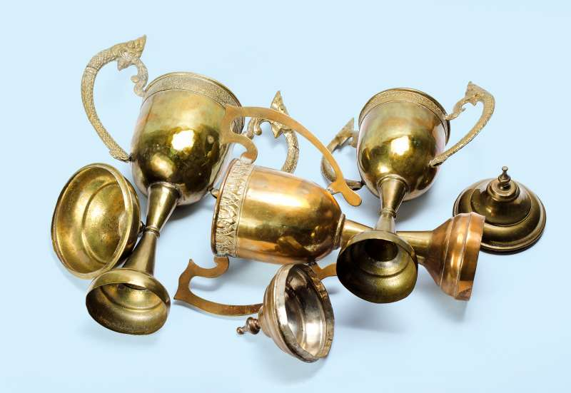 pile of tarnished trophies