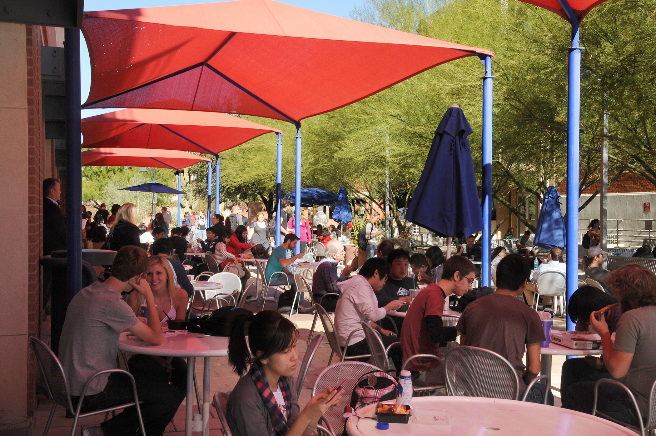 College students eating lunch at the University of Arizona in Tucson