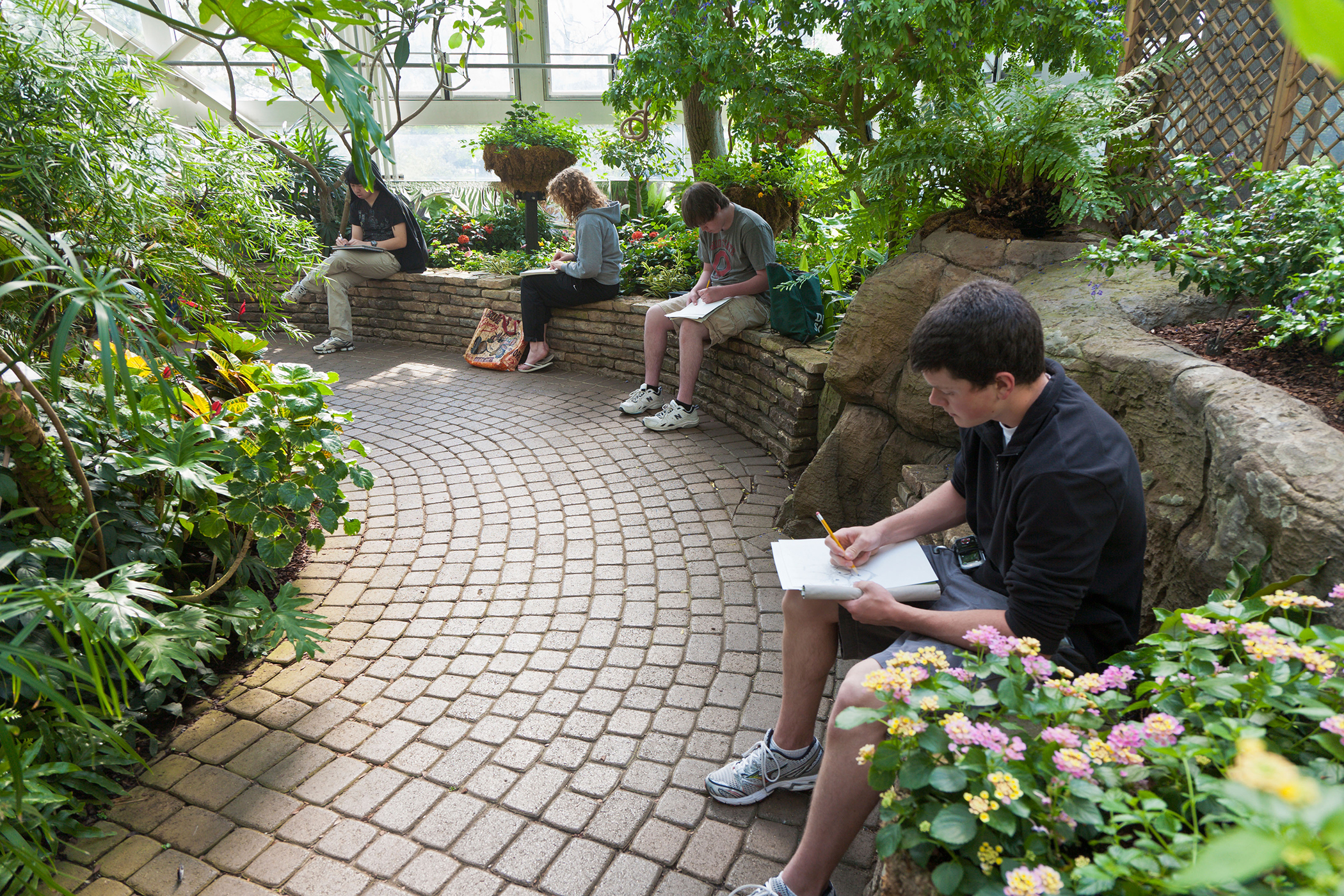 Art students drawing plants in the Conservatory at Franklin Park in Columbus