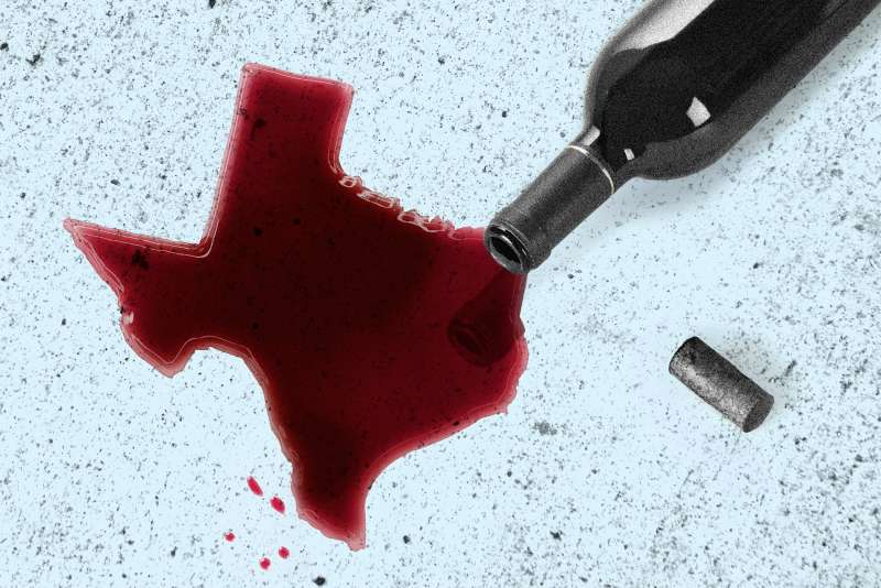 illustration of spilled wine in the shape of the state of Texas