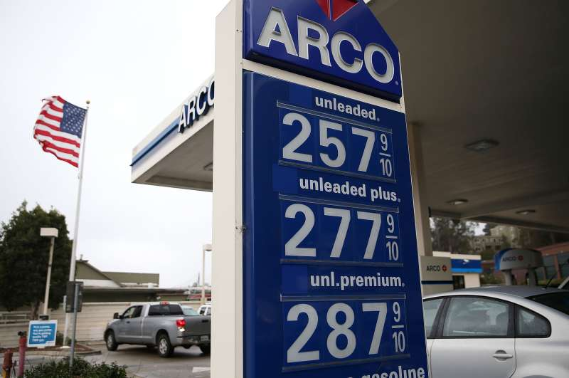 Gas prices below $3.00 a gallon are displayed at an Arco gas station on September 14, 2015 in Mill Valley, California.