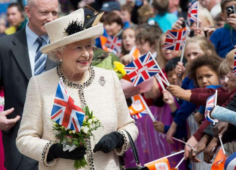 Britain's Queen Elizabeth II is greeted