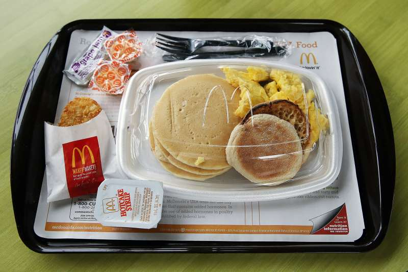 A McDonald's  Big Breakfast  is displayed at a McDonald's restaurant on July 23, 2015 in Fairfield, California.