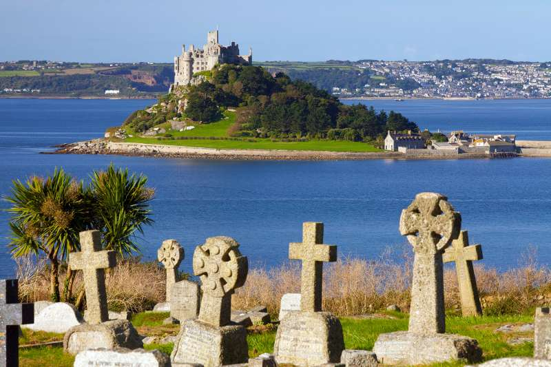 Cemetery with St. Michael's Mount in the background, Cornwall, England, United Kingdom
