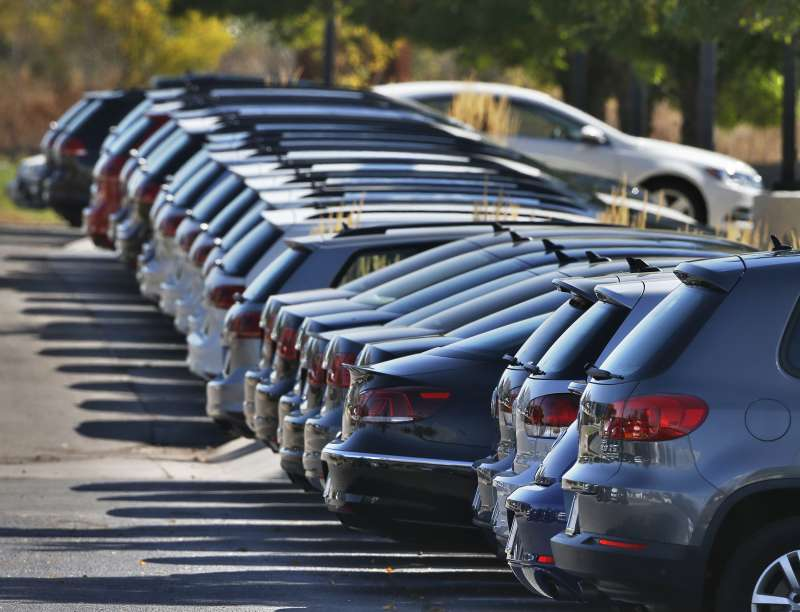 Volkswagen cars for sale are on display on the lot of a VW dealership in Boulder, Colorado, September 24, 2015.