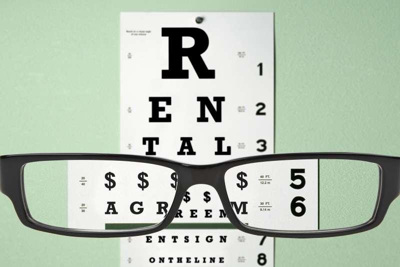 eye glasses looking at eye chart rental agreement illustration