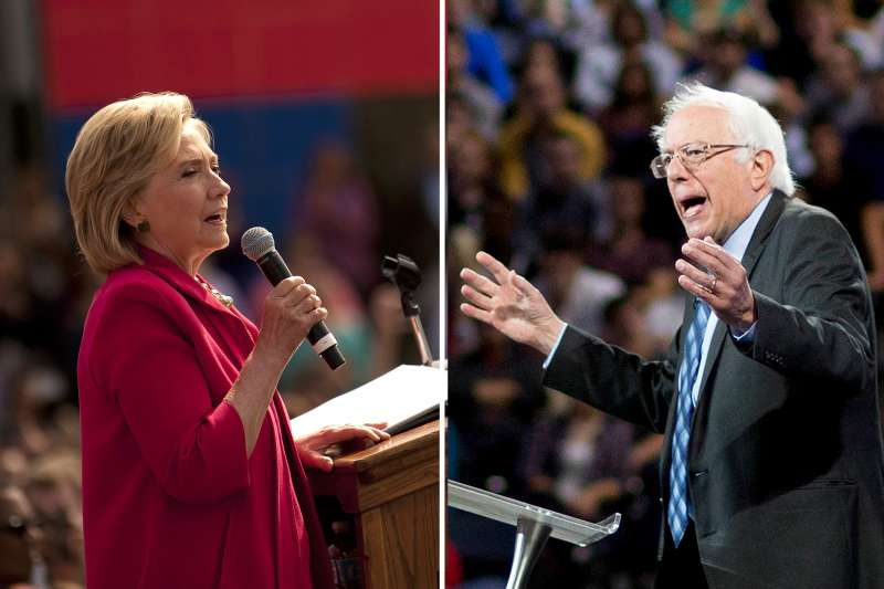 Democratic presidential candidates former U.S. Secretary of State Hillary Clinton (left) and Senator Bernie Sanders (right)