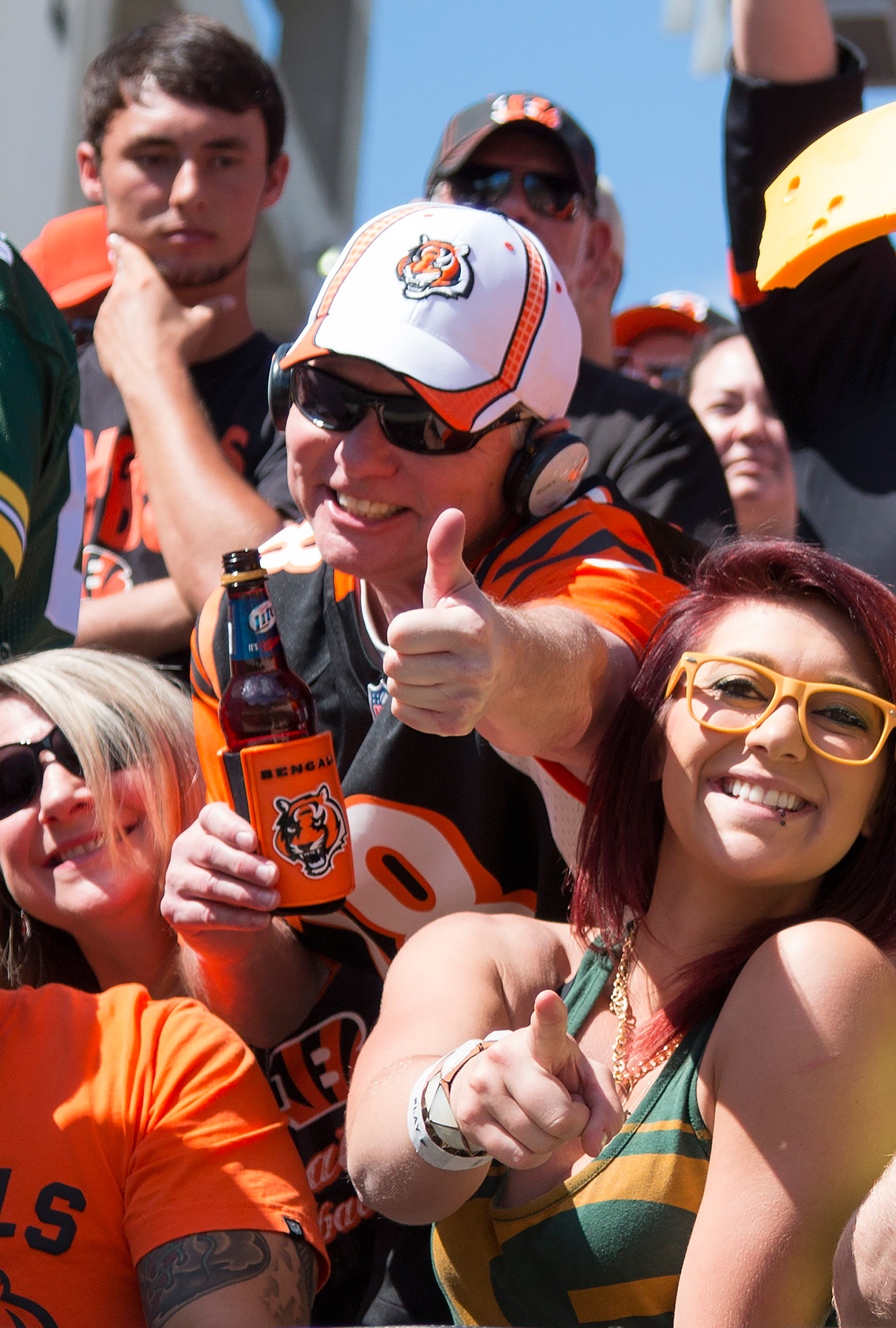 Fans of the Bengals enjoy the nice weather during the National Football League game between the Green Bay Packers and the Cincinnati Bengals at Paul Brown Stadium, September 22, 2013.