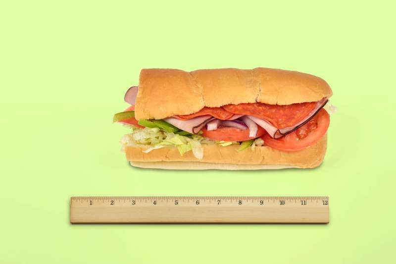Subway sandwich and ruler