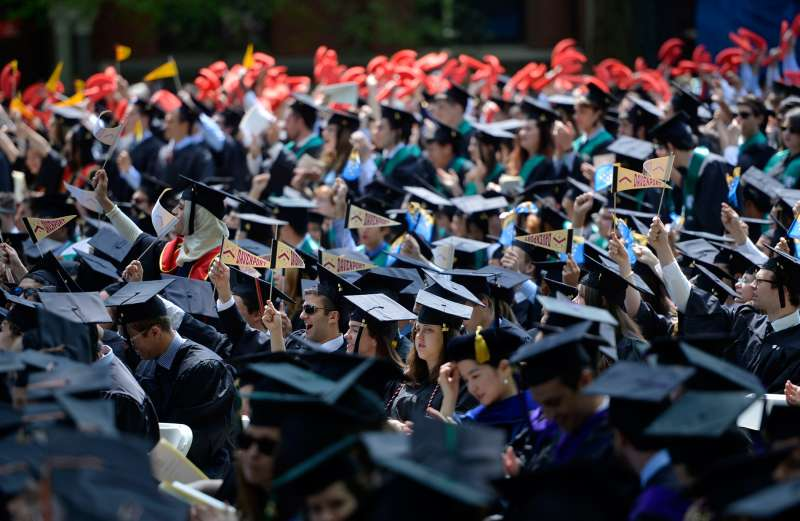 Students of Yale University attend the 313th Commencement of Yale University at the Old Campus in New Haven on May 19, 2014.