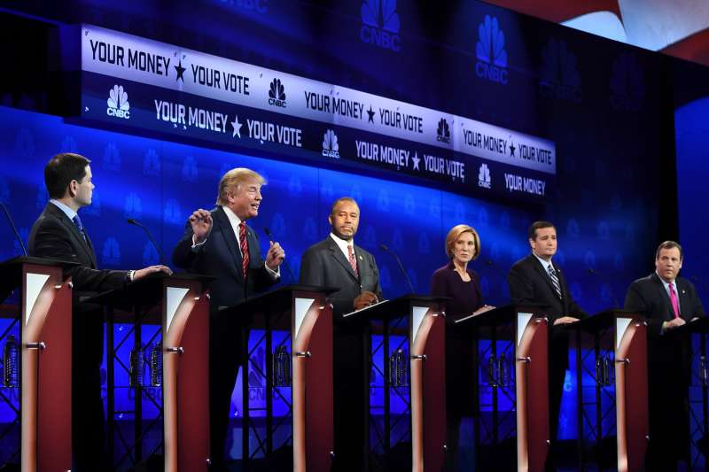 Republican Presidential hopeful Donald Trump (2L) speaks as Marco Rubio (L), Ben Carson (C), Carly Fiorina (2R), and Ted Cruz look on during the CNBC Republican Presidential Debate, October 28, 2015 at the Coors Event Center at the University of Colorado in Boulder, Colorado.