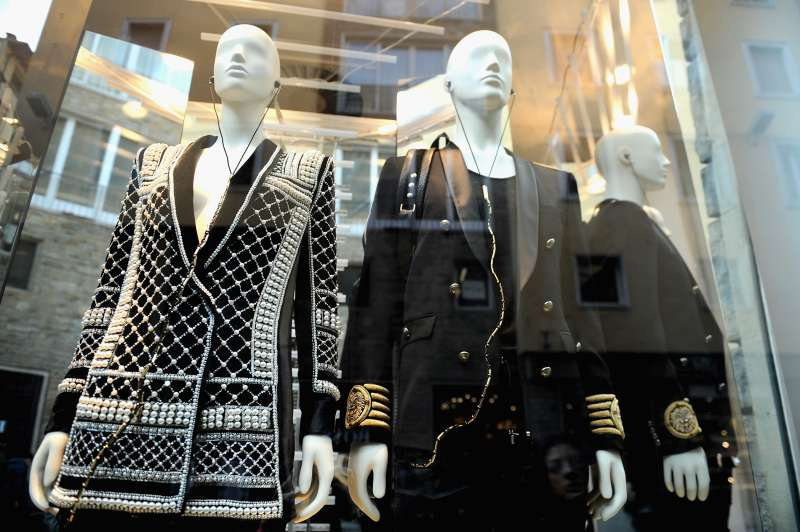 A window display is pictured before the Balmain For H&M Collection Launch on November 5, 2015 in Florence, Italy.