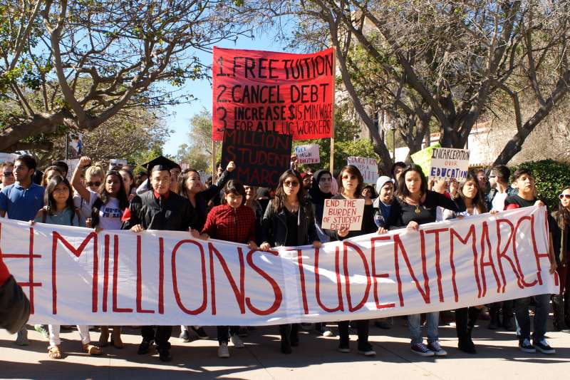 The #MillionStudentMarch took place on the University of California-Santa Barbara campus, drawing an estimated 1,000-2,000 students on November 12, 2015.