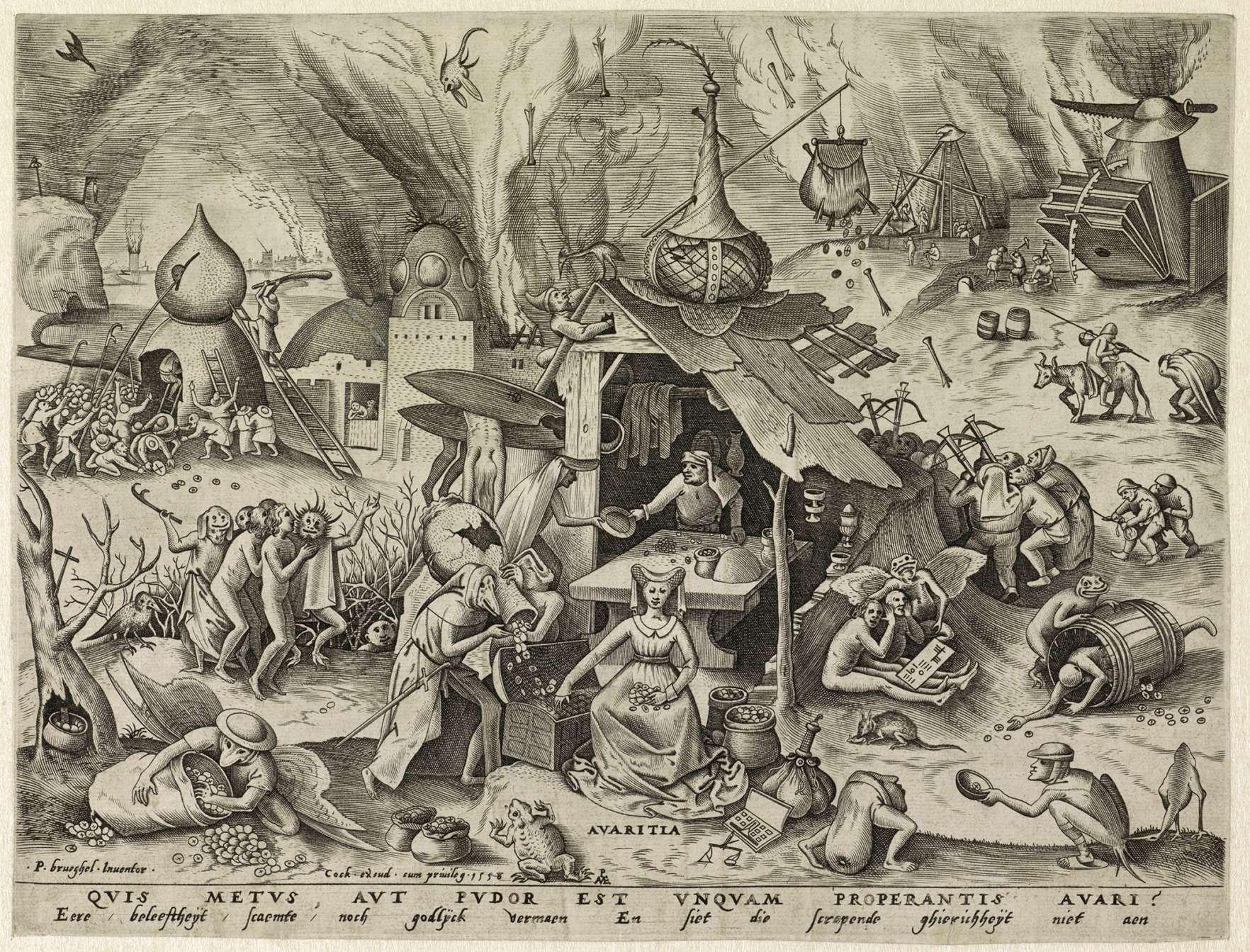 """Avarita (Greed),"" Pieter van der Heyden after Pieter Bruegel the Elder, engraving, 1558, Rijksmuseum, Amsterdam"