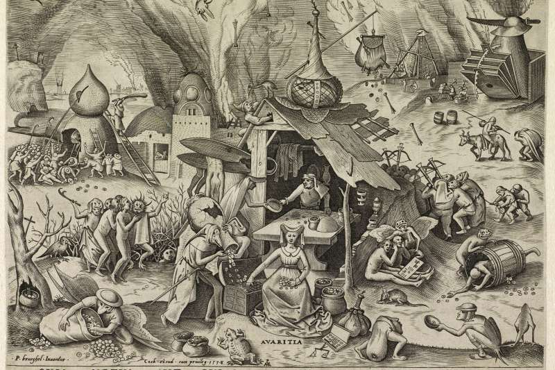 """Avarita (Greed),"" Pieter van der Heyden after Pieter Bruegel the Elder, engraving, 1558, Rijksmuseum, Amsterdam"