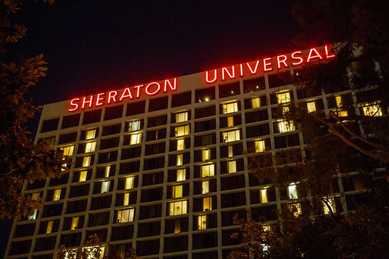The Sheraton Universal Hotel stands in Universal City, California, on October 26, 2015. Starwood Hotels & Resorts Worldwide Inc. is the owner of the Sheraton and W brands.