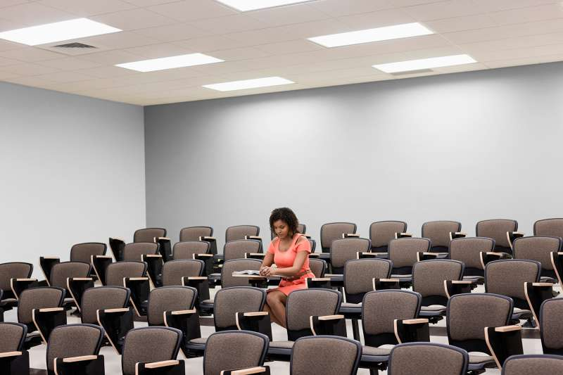 African American student in classroom