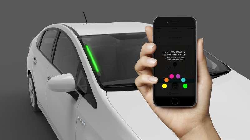light strips on an uber car