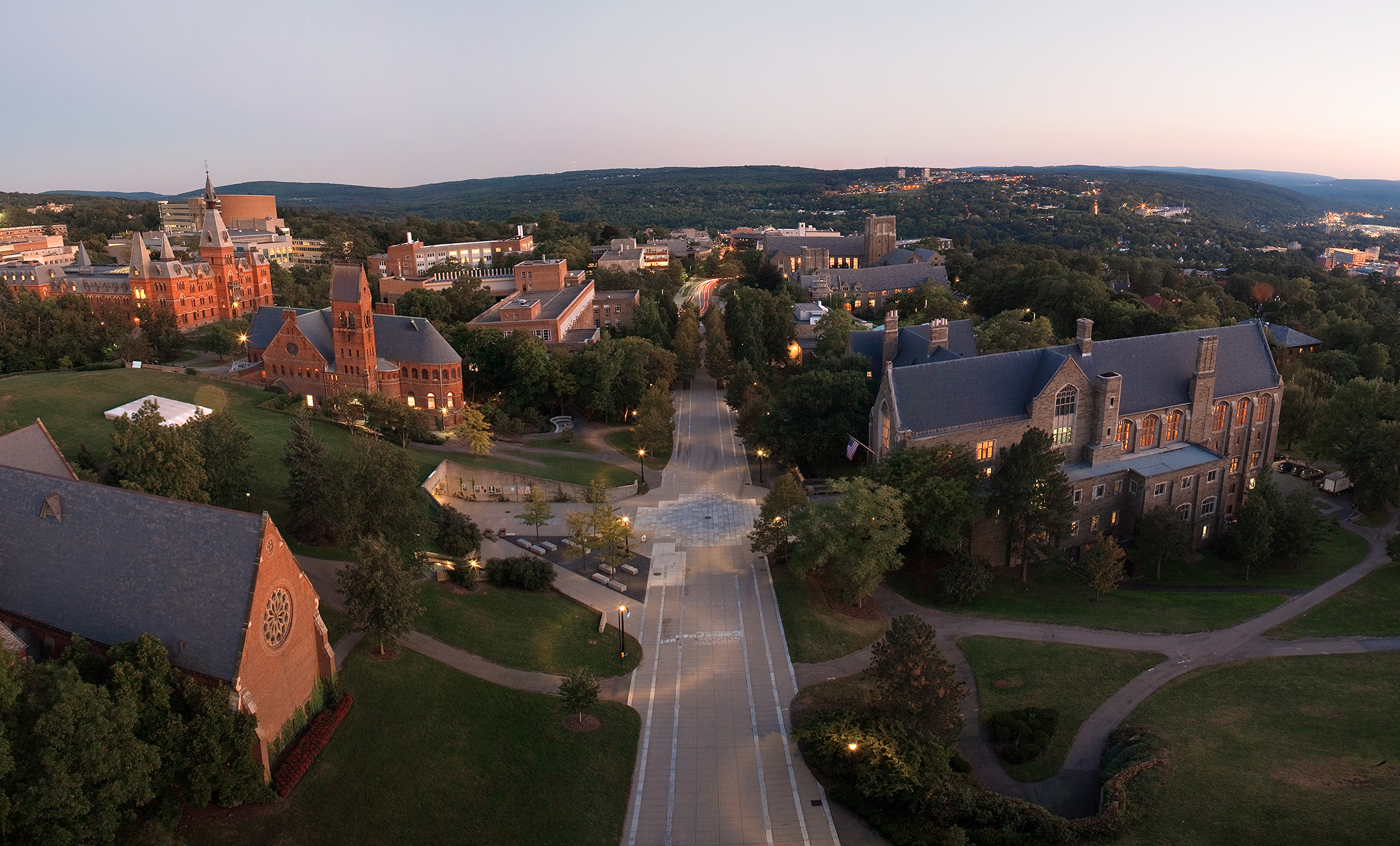Ho Plaza looking south from atop McGraw Tower, Cornell University