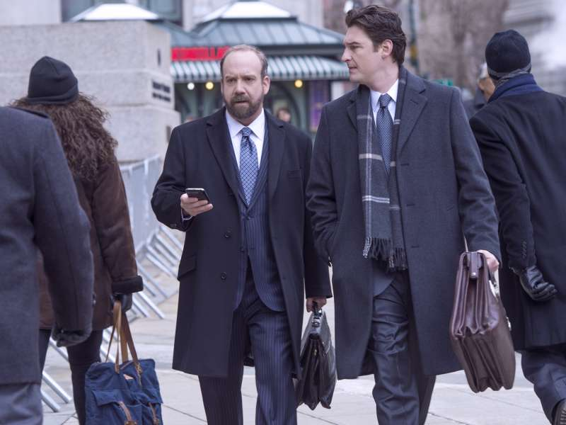 Paul Giamatti as Chuck Rhoades and Toby Leonard Moore as Bryan Connerty in Billions (Season 1, Episode 1) on SHOWTIME