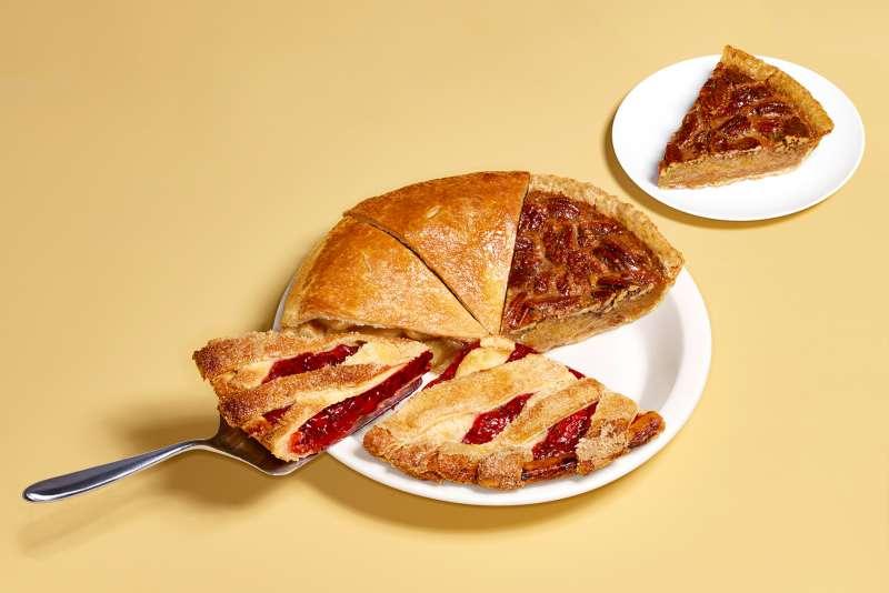 slice of pie being taken from mismatched pie