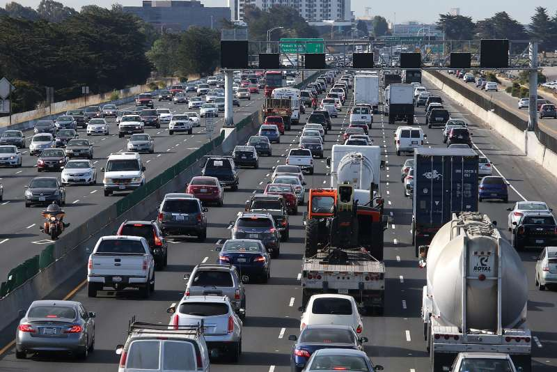 Traffic makes its way along Interstate 80 on July 1, 2015 in Berkeley, California.