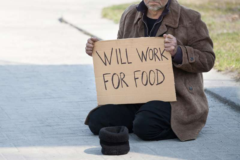 will work for food sign