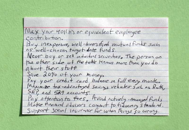 index card of advice