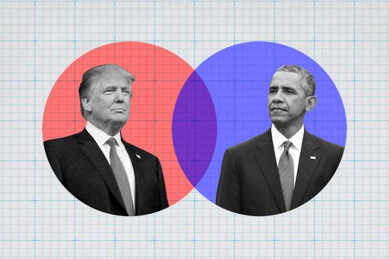 Donald Trump and President Obama in Venn diagram