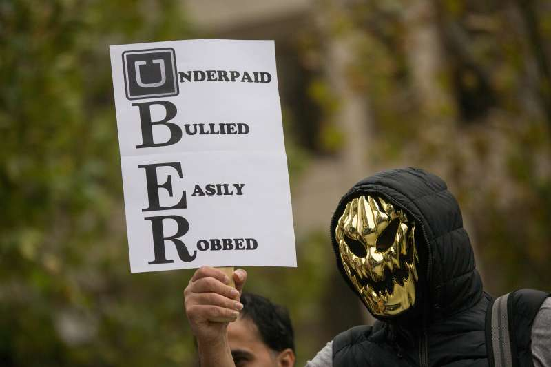 GMB Union Uber Drivers Protest Against An Increase In Commission By Uber Technologies Inc.
