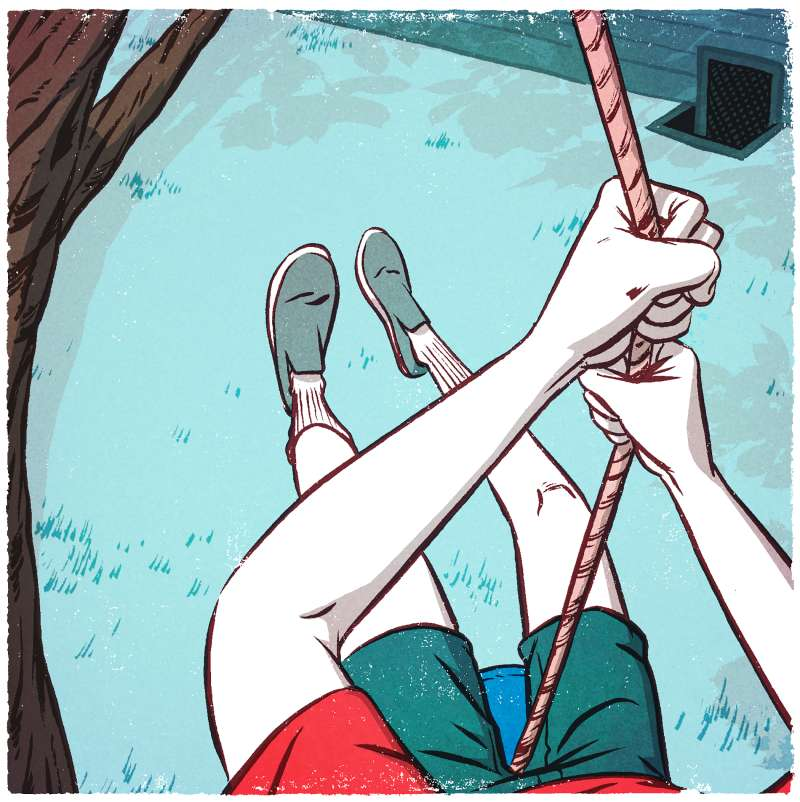 illustration of person on swing