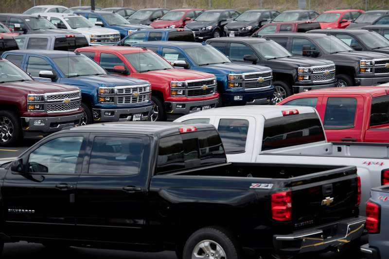 General Motors Chevrolet vehicles are displayed for sale on the lot at Phillips Chevrolet car dealership in Frankfort, Illinois, on April 30, 2015.