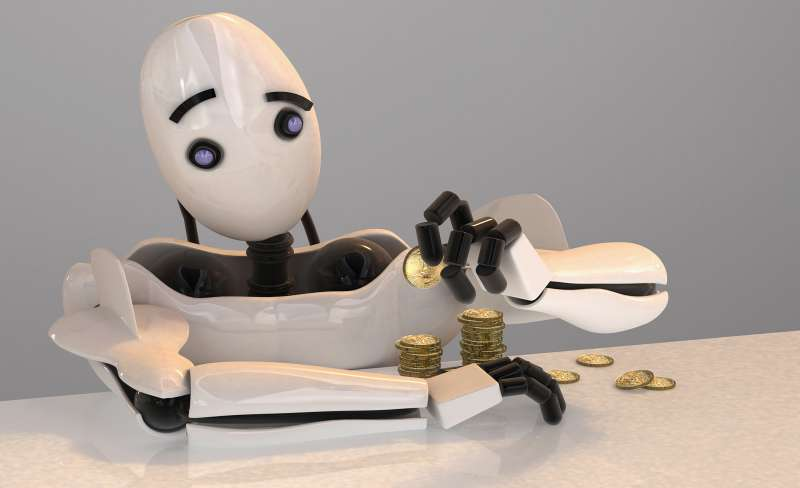robot stacking gold coins