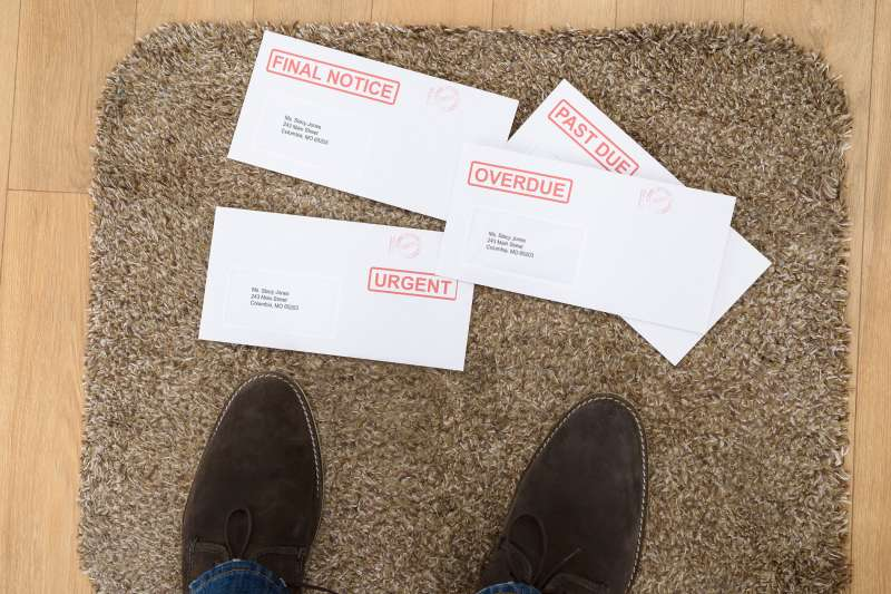 overdue past due envelopes on doorstep