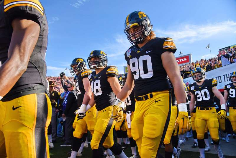 The Iowa Hawkeyes in action during a 45-16 defeat to the Stanford Cardinal in the 2016 Rose Bowl game in Pasadena, California, January 1, 2016.
