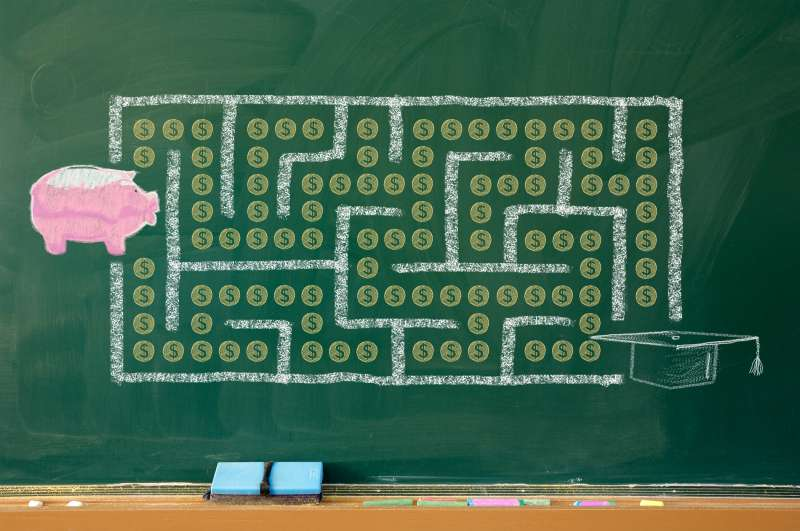 illustration on chalkboard of piggy bank trying to get through Pac Man style maze to mortarboard