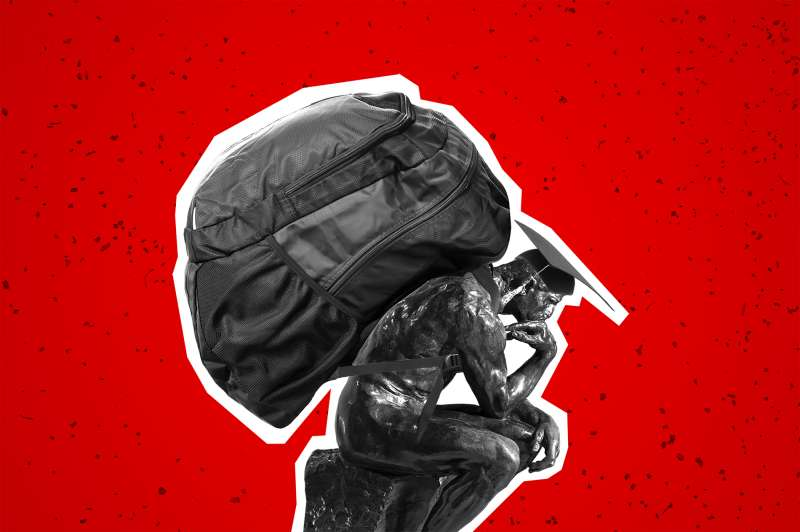 Rodin  Thinker  statue with oversized backpack on his back