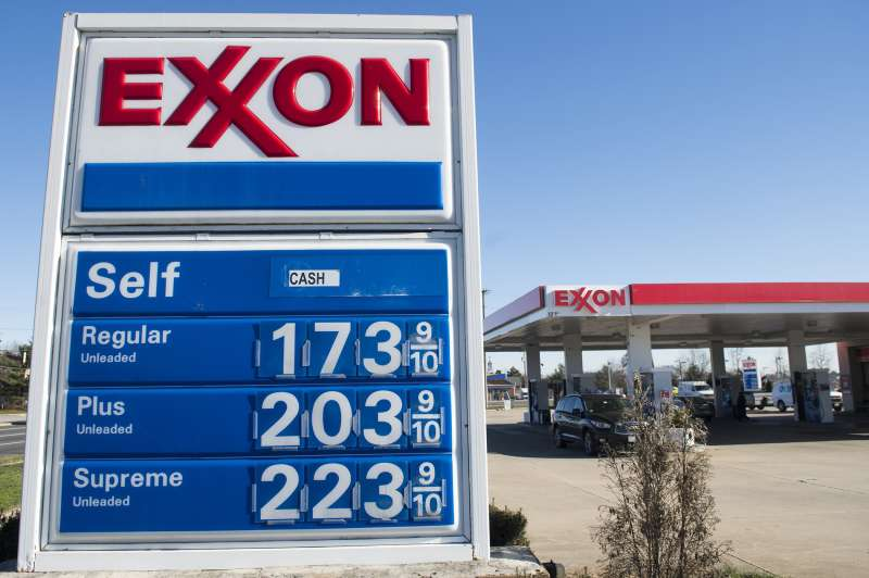 Gas prices are displayed at an Exxon gas station in Woodbridge, Virginia, January 5, 2016.