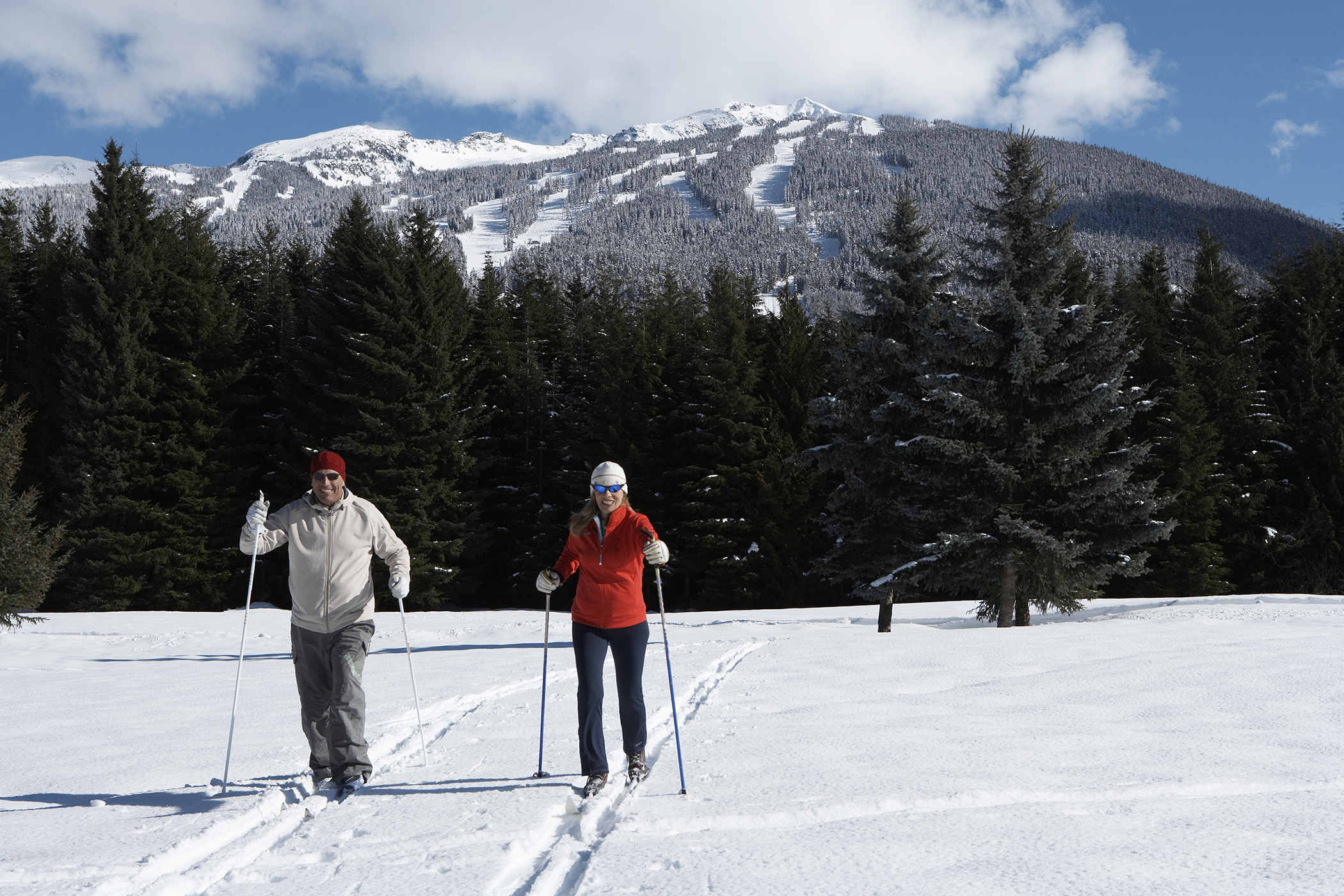 Cross-country skiers in Whistler, B.C.