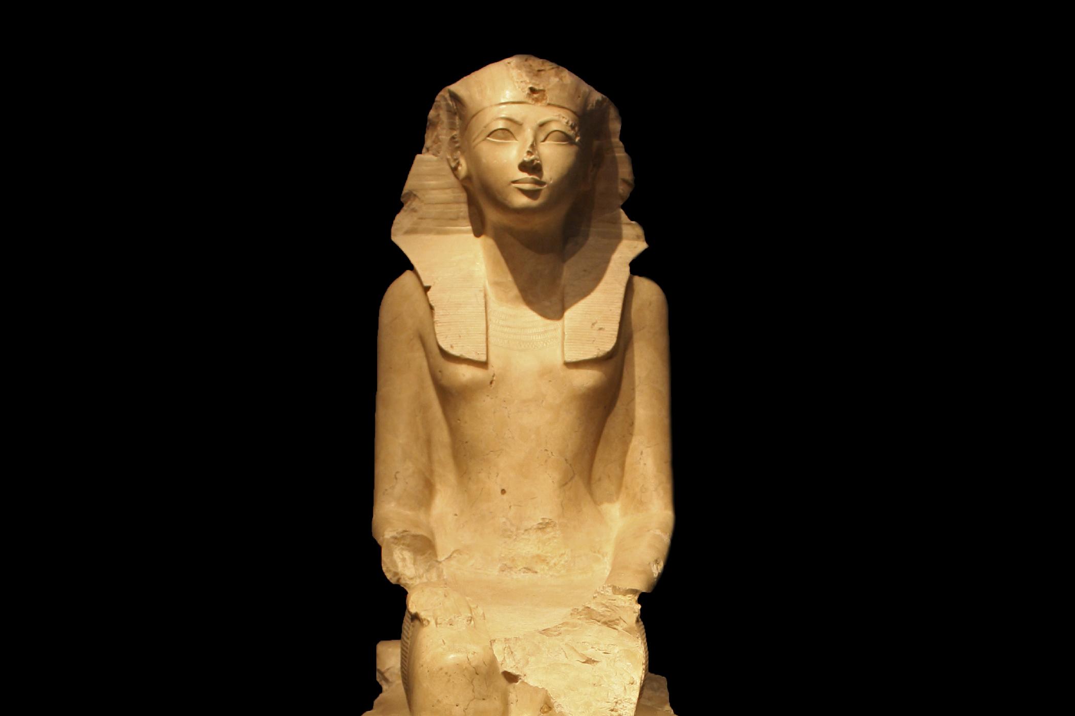 Seated Statue of Queen Hatshepsut circa 1473-1458 B.C. Egypt, Upper Egypt; Thebes, Deir el-Bahri.