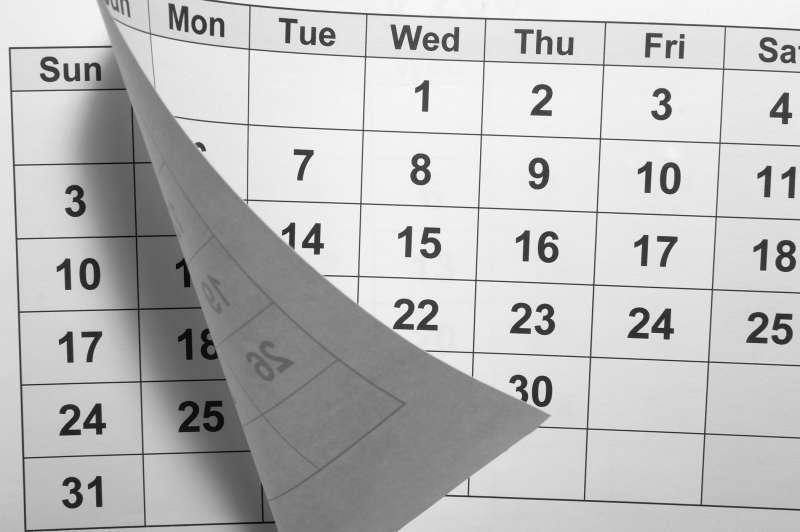turning calendar page