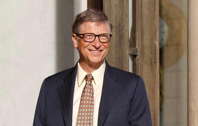 Bill Gates, the co-Founder of the Microsoft company and co-Founder of the Bill and Melinda Gates Foundation arrives at the Elysee Palace for a meeting with French President Francois Hollande on June 25, 2015, in Paris, France.
