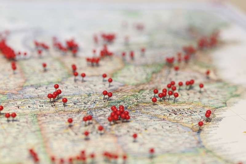 red pins on map