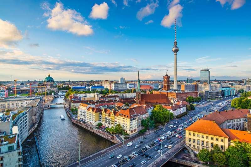 Berlin, Germany skyline over the Spree River