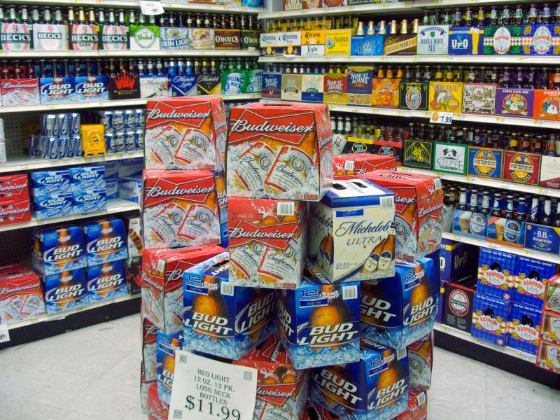 Budweiser, Bud Light and other beer in the beverage department of a supermarket in New York, February 16, 2008.