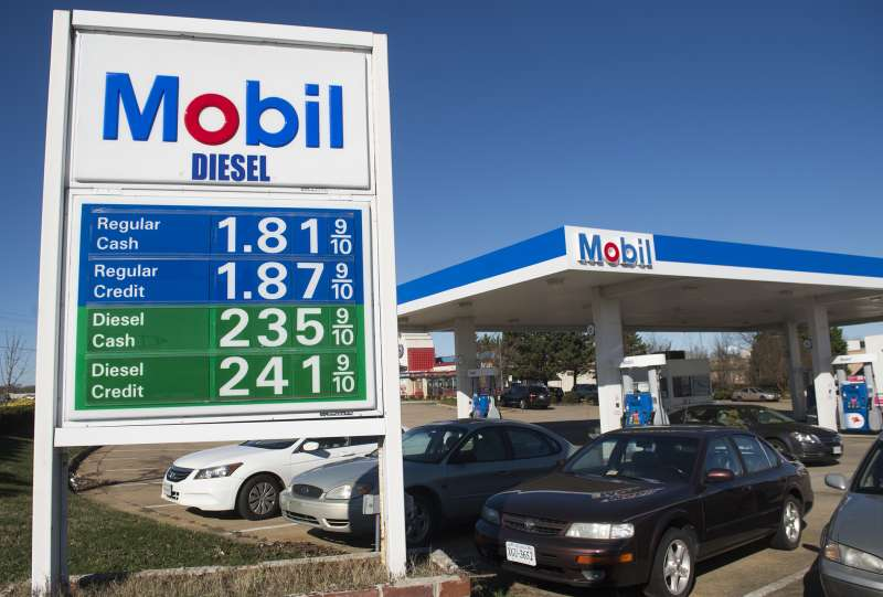 Gas prices are displayed at a Mobil gas station in Woodbridge, Virginia, January 5, 2016.