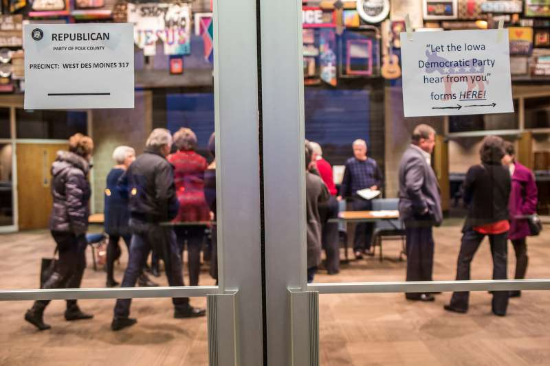Signs direct Republican and Democratic caucus-goers in precinct 317 at Valley Church on February 1, 2016 in West Des Moines, Iowa. The Democratic and Republican Iowa Caucuses, the first step in nominating a presidential candidate from each party, took place on February 1.