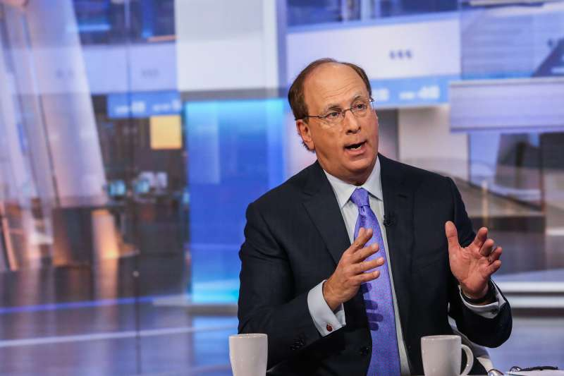 Laurence  Larry  Fink, chairman and chief executive officer of BlackRock Inc., speaks during a Bloomberg Television interview in New York, U.S., on December 17, 2015. Fink said falling energy prices and a stronger dollar are weighing on the U.S. economy, which will be lucky to see 2 percent growth in 2016.